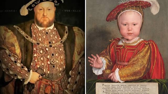 Jindřich VIII. se synem Eduardem