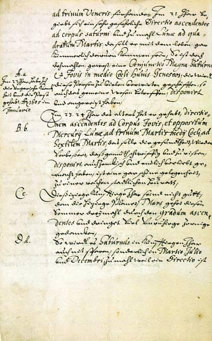 Výňatek Valdštejnova prvního horoskopu od Johannese Keplera z roku 1608 s osobními poznámkami Valdštejna na okraji.