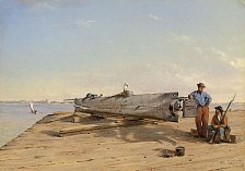 Ponorka H. L. Hunley na obraze Conrada Wise Chapmana z prosince 1863