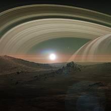 Pohled z Titanu na Saturnův prstenec