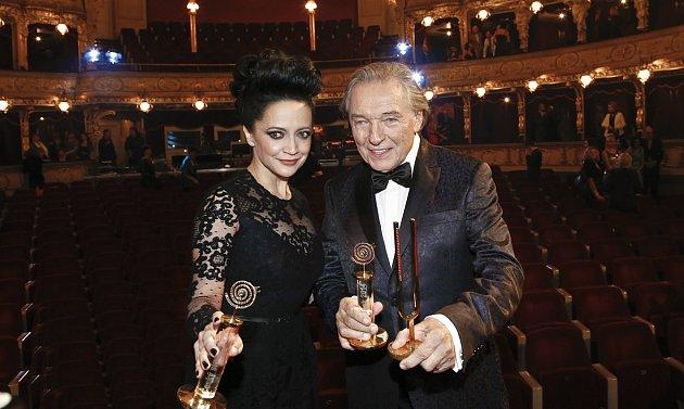 Lucie Bílá a Karel Gott na vyhlášení slavíků 2014.