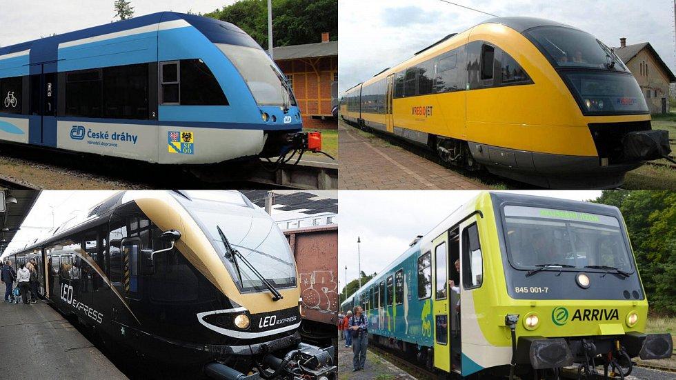 Vlaky dopravců České dráhy, RegioJet, Leo Express a Arriva