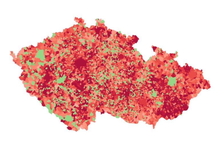 Aktuálně nakažení covidem-19 v obcích. 21.10.2020.