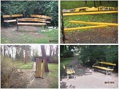 Některé z případů poničených laviček v lounských parcích z poslední doby