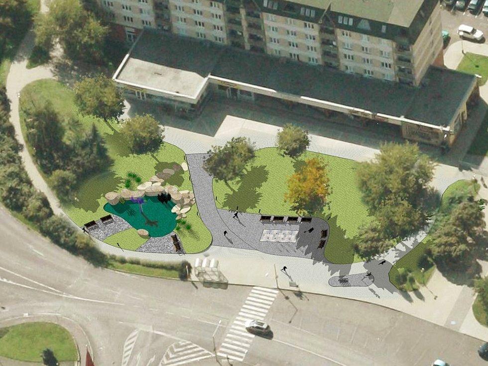 Pohled na novou podobu Suzdalského náměstí v Lounech z ptačí perspektivy