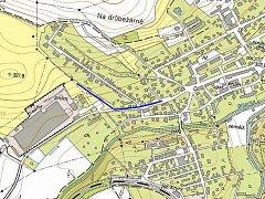 Mapka ukazuje místo v kryrské Tovární ulici, kde proběhne výměna poruchového vodovodu