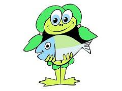 Ohřinka s rybou, maskot regionu Dolní Poohří, určený hlavně dětem.