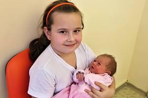 Adéla Jakešová se narodila 7. ledna 2019 v 11.47 hodin rodičům Zuzaně Erretové a Miroslavu Jakešovi ze Senkova. Vážila 3050 g a měřila 50 cm. Na snímku je se sestrou Terezou Jakešovou.