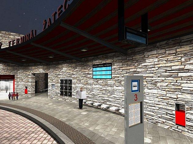 Vizualizace budoucí podoby žateckého autobusového nádraží