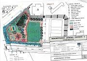 Červeně je označeno, co se začne na letním cvičisti nyní rekonstruovat. Travnaté hřiště se zatím dělat nebude.