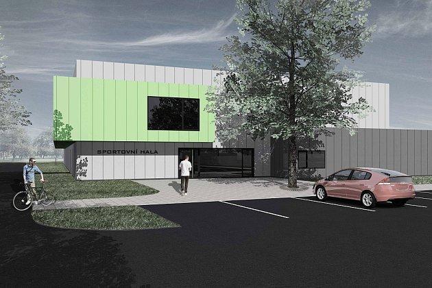 Vizualizace nové sportovní haly, která by vPodbořanech brzy měla vzniknout.