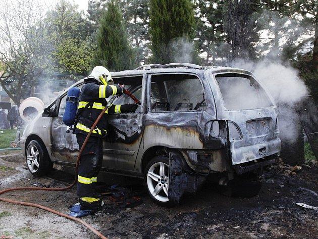 Požár osobního vozu ve Staňkovicích