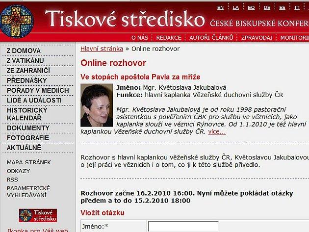 Webová stránka Tiskového střediska České biskupské konference