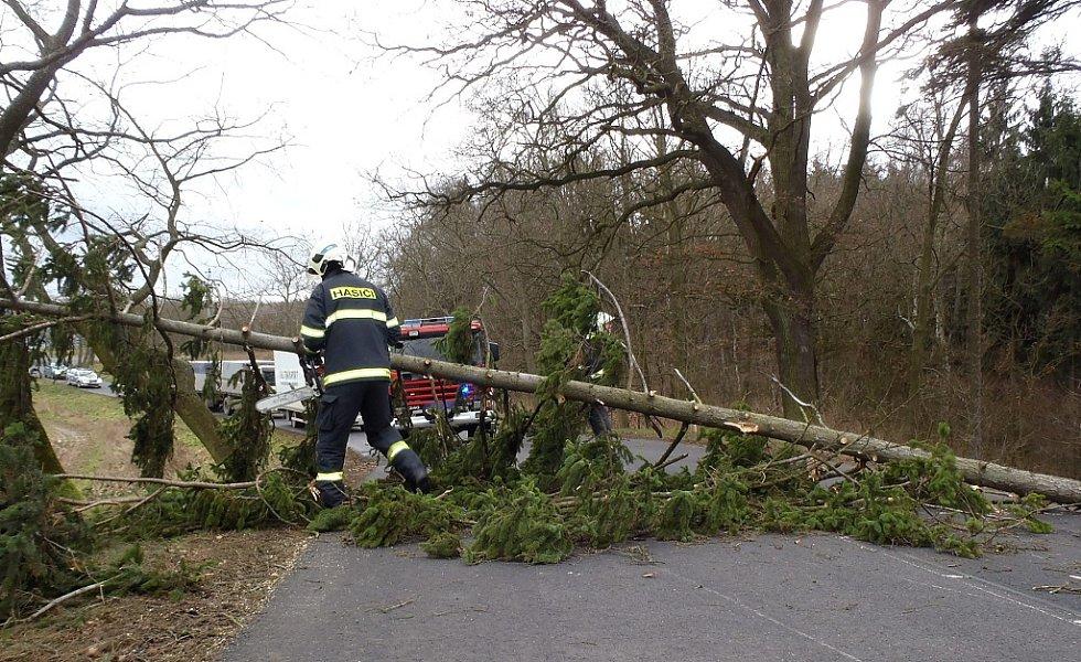 Hasiči odstraňovali padlé stromy a větve ze silnice mezi Žatcem a Rakovníkem