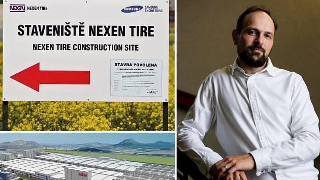 Manažer Nexenu Petr Pospíšil, vizualizace závodu Nexen u Žatce a probíhající stavba
