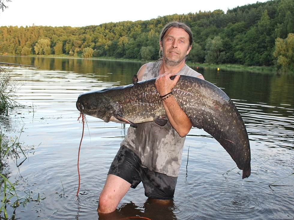 Červenec 2016. Josef Vaidiš z Nejdku drží sumce, kterého chytil na Nechranické přehradě. Ryba měřila 170 cm.