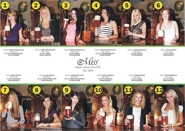 Dvanáct finalistek Miss Chrámu chmele a piva 2014