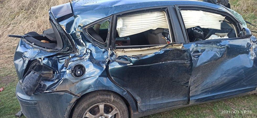 Nehoda vlaku a auta ve Vroutku.