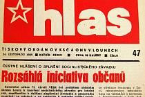 Týdeník Hlas před dvaceti lety jen nerad psal o změnách ve společnosti, raději chválil komunistické funkcionáře.