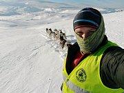 Podbořanský musher Roman Habásko na závodech.