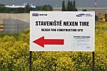 Výstavba továrny Nexen u Žatce