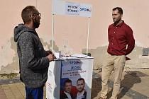 Dominik Hanko na předvolebním mítinku v Žatci.