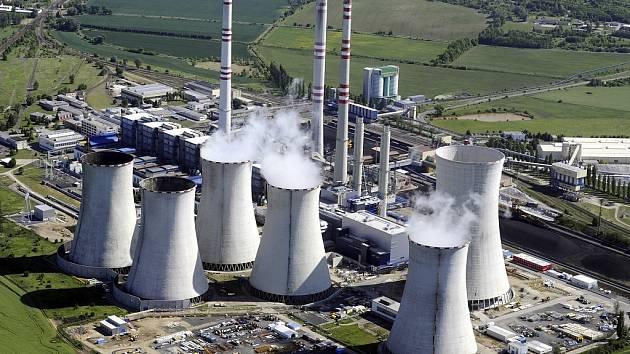 Letecký pohled na Elektrárnu Počerady