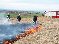 Požár suché trávy a černé skládky nedaleko Vrbky