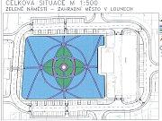 Schválený návrh úpravy centrální plochy Zeleného náměstí v Zahradním městě v Lounech. Jeho autorem je architekt Pavel Čermák. Realizace bude obsahovat ještě drobné změny.