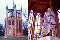 Opravený novogotický templ v krásnodvorském zámeckém parku a opravená socha maršála Schwarzenberga, která je uvnitř