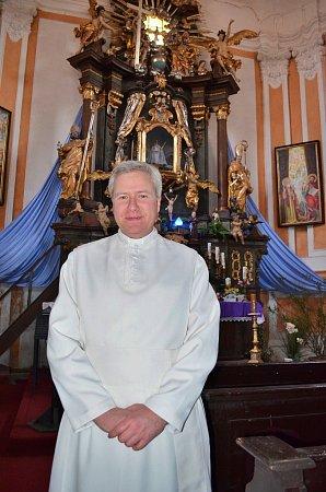 Farář Vilém Marek Štěpán vkostele vLiběšicích