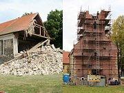 Kostel sv. Šimona a Judy v Lenešicích bezprostředně po zřícení věže (vlevo) a o téměř deset let později, na podzim 2017