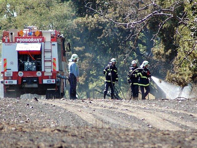 Hasiči likvidují požár pole a dvou hektarů lesa mezi Měcholupy a Sádkem