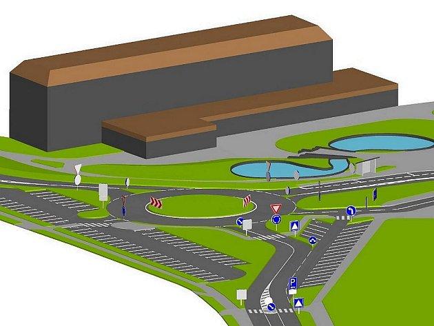 Vizualizace budoucí podoby kruhového objezdu na Suzdalském náměstí v Lounech