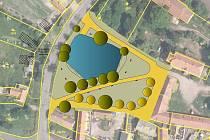 Návrh budoucí podoby návsi v Milčevsi