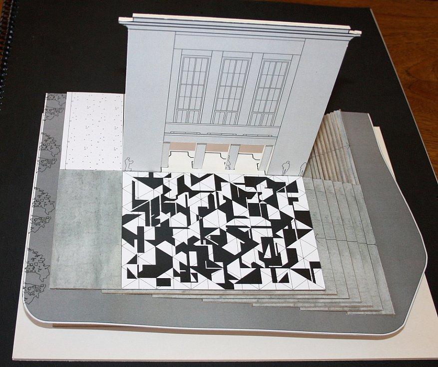 Model možné budoucí podoby prostoru před Vrchlického divadlem v Lounech. Vévodí mu mozaika od Zdeňka Sýkory