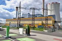 Dobíjecí stanice ČEZ u Elektrárny Ledvice