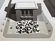 Dlažba před Vrchlického divadlem podle návrhu architekta J. Pleskota.