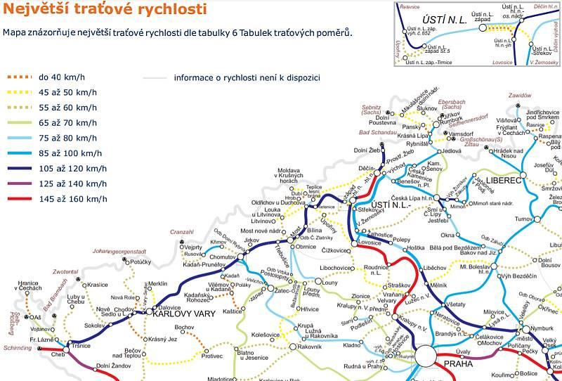 Mapka ukazuje traťové rychlosti na železnicích v severozápadních Čechách.