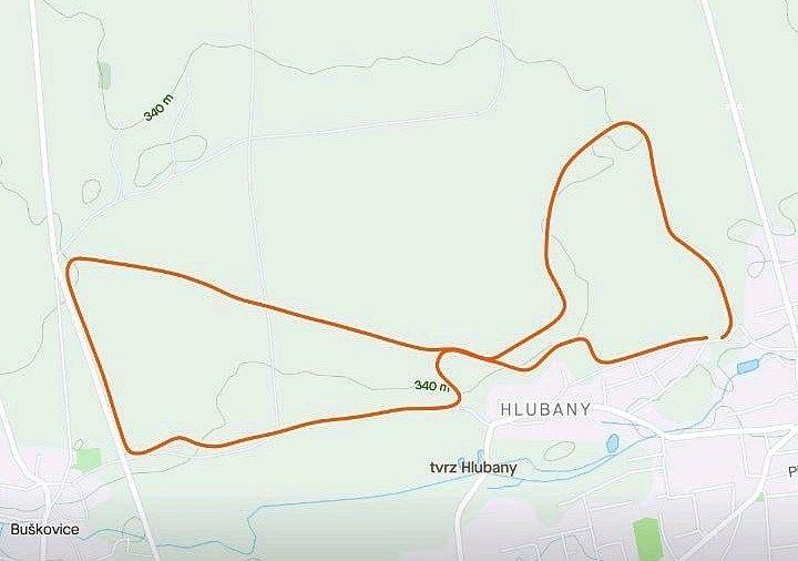 Mapa trasy z Podbořan směrem na Hlubany a Buškovice