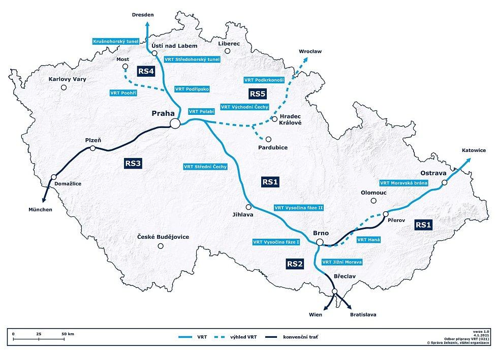 Mapa ukazuje, kudy by v Česku měly vysokorychlostní železnice vést.