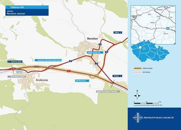Mapka ukazuje, kudy povede nová dálnice uŘevničova.