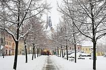 Louny pod sněhem zachytil v neděli 24. února dopoledne Miroslav Pavelka