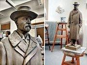 Model sochy TGM, který vzniká v Hořicích. Socha bude od příštího roku v Lounech.