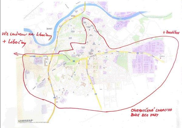 Mapa Žatce svyznačením oblasti, které se odstávka dotkne
