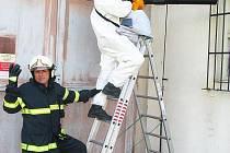 Hasiči Jaroslav Ledvina (na žebříku) a Vlastimil Doucha při likvidaci včelího roje v Elektrárně Počerady. V tomto případě se jedná o nácvik správného použití speciálního vysavače.