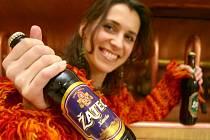 Obchodní zástupkyně pivovaru Petra Melmerová ukazuje nové etikety na lahvích žateckého piva.