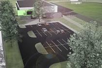 Vizualizace nové sportovní haly, která by v Podbořanech brzy měla vzniknout.