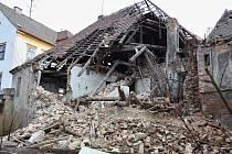 Zřícený dům v Horově ulici v Žatci