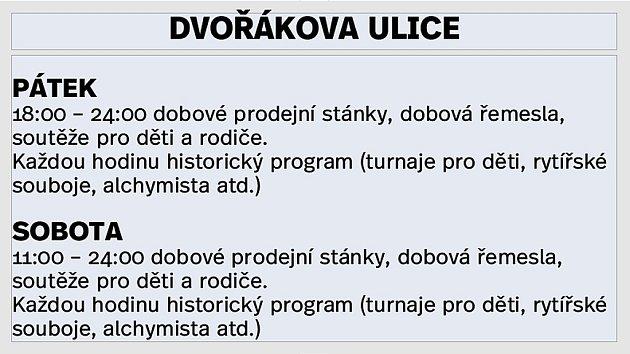 Program ve Dvořákově ulici.